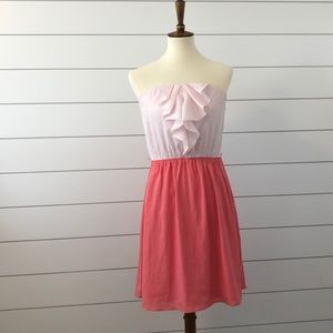 Express strapless pink and coral dress